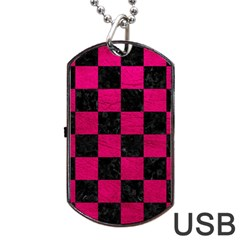 Square1 Black Marble & Pink Leather Dog Tag Usb Flash (one Side) by trendistuff