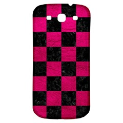 Square1 Black Marble & Pink Leather Samsung Galaxy S3 S Iii Classic Hardshell Back Case by trendistuff