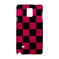 Square1 Black Marble & Pink Leather Samsung Galaxy Note 4 Hardshell Case by trendistuff