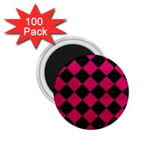 Square2 Black Marble & Pink Leather 1 75  Magnets (100 Pack)  by trendistuff