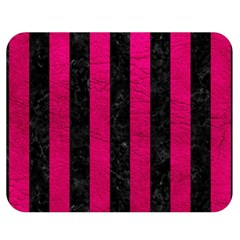 Stripes1 Black Marble & Pink Leather Double Sided Flano Blanket (medium)  by trendistuff
