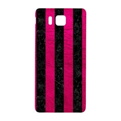 Stripes1 Black Marble & Pink Leather Samsung Galaxy Alpha Hardshell Back Case by trendistuff