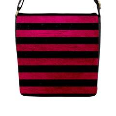 Stripes2 Black Marble & Pink Leather Flap Messenger Bag (l)  by trendistuff