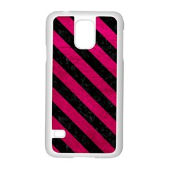 Stripes3 Black Marble & Pink Leather Samsung Galaxy S5 Case (white) by trendistuff