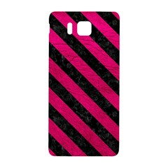 Stripes3 Black Marble & Pink Leather Samsung Galaxy Alpha Hardshell Back Case by trendistuff