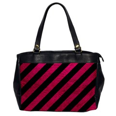 Stripes3 Black Marble & Pink Leather (r) Office Handbags by trendistuff
