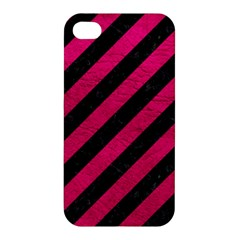 Stripes3 Black Marble & Pink Leather (r) Apple Iphone 4/4s Premium Hardshell Case by trendistuff