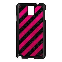 Stripes3 Black Marble & Pink Leather (r) Samsung Galaxy Note 3 N9005 Case (black) by trendistuff