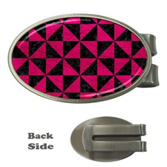 Triangle1 Black Marble & Pink Leather Money Clips (oval)  by trendistuff
