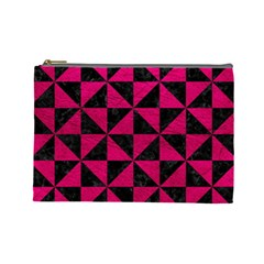 Triangle1 Black Marble & Pink Leather Cosmetic Bag (large)  by trendistuff
