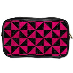 Triangle1 Black Marble & Pink Leather Toiletries Bags by trendistuff