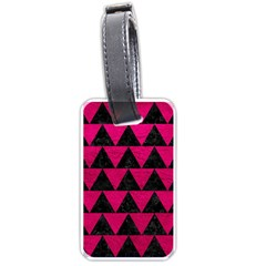 Triangle2 Black Marble & Pink Leather Luggage Tags (two Sides) by trendistuff
