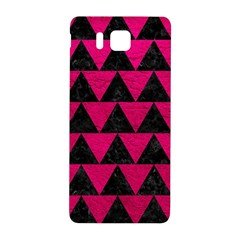 Triangle2 Black Marble & Pink Leather Samsung Galaxy Alpha Hardshell Back Case by trendistuff