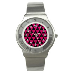 Triangle3 Black Marble & Pink Leather Stainless Steel Watch by trendistuff
