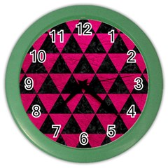 Triangle3 Black Marble & Pink Leather Color Wall Clocks by trendistuff