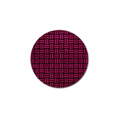 Woven1 Black Marble & Pink Leather (r) Golf Ball Marker by trendistuff