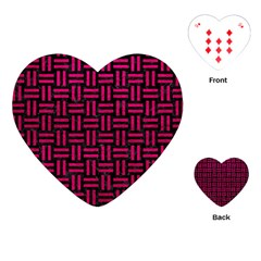 Woven1 Black Marble & Pink Leather (r) Playing Cards (heart)  by trendistuff