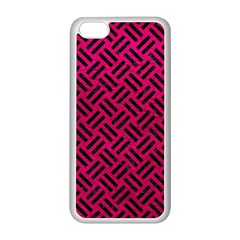 Woven2 Black Marble & Pink Leather Apple Iphone 5c Seamless Case (white) by trendistuff