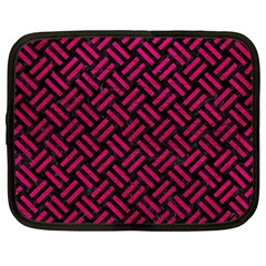 Woven2 Black Marble & Pink Leather (r) Netbook Case (large)
