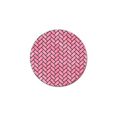 Brick2 Black Marble & Pink Watercolor Golf Ball Marker by trendistuff
