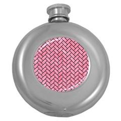 Brick2 Black Marble & Pink Watercolor Round Hip Flask (5 Oz) by trendistuff