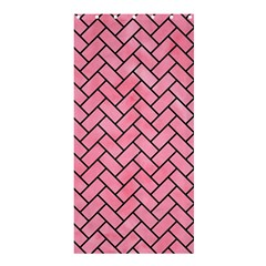 Brick2 Black Marble & Pink Watercolor Shower Curtain 36  X 72  (stall)  by trendistuff
