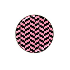Chevron1 Black Marble & Pink Watercolor Hat Clip Ball Marker by trendistuff