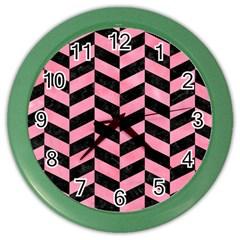 Chevron1 Black Marble & Pink Watercolor Color Wall Clocks by trendistuff