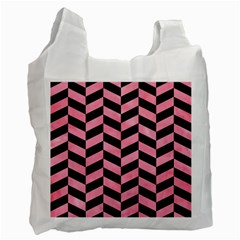 Chevron1 Black Marble & Pink Watercolor Recycle Bag (two Side)  by trendistuff