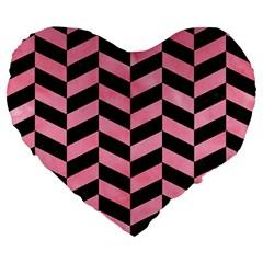 Chevron1 Black Marble & Pink Watercolor Large 19  Premium Heart Shape Cushions by trendistuff