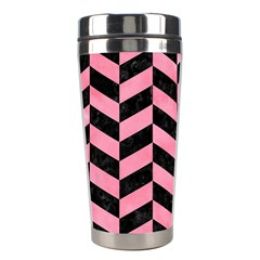 Chevron1 Black Marble & Pink Watercolor Stainless Steel Travel Tumblers by trendistuff