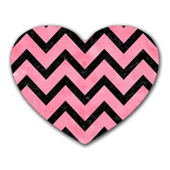 Chevron9 Black Marble & Pink Watercolor Heart Mousepads by trendistuff