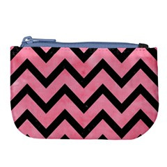 Chevron9 Black Marble & Pink Watercolor Large Coin Purse by trendistuff