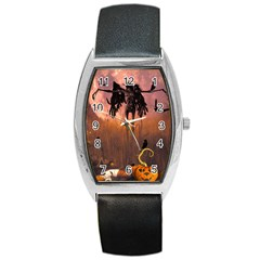 Halloween Design With Scarecrow, Crow And Pumpkin Barrel Style Metal Watch by FantasyWorld7
