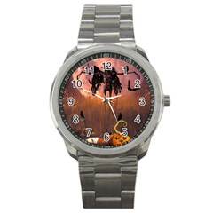 Halloween Design With Scarecrow, Crow And Pumpkin Sport Metal Watch by FantasyWorld7