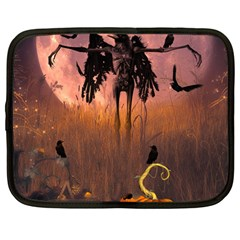Halloween Design With Scarecrow, Crow And Pumpkin Netbook Case (large) by FantasyWorld7