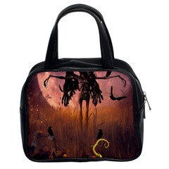 Halloween Design With Scarecrow, Crow And Pumpkin Classic Handbags (2 Sides) by FantasyWorld7