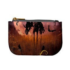 Halloween Design With Scarecrow, Crow And Pumpkin Mini Coin Purses by FantasyWorld7