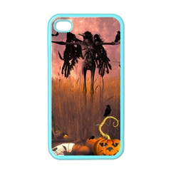Halloween Design With Scarecrow, Crow And Pumpkin Apple Iphone 4 Case (color) by FantasyWorld7