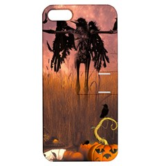 Halloween Design With Scarecrow, Crow And Pumpkin Apple Iphone 5 Hardshell Case With Stand by FantasyWorld7