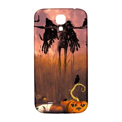 Halloween Design With Scarecrow, Crow And Pumpkin Samsung Galaxy S4 I9500/i9505  Hardshell Back Case by FantasyWorld7