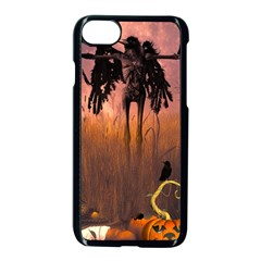 Halloween Design With Scarecrow, Crow And Pumpkin Apple Iphone 7 Seamless Case (black) by FantasyWorld7