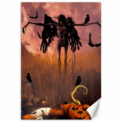 Halloween Design With Scarecrow, Crow And Pumpkin Canvas 12  X 18   by FantasyWorld7