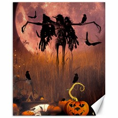 Halloween Design With Scarecrow, Crow And Pumpkin Canvas 11  X 14   by FantasyWorld7