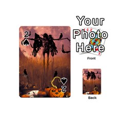 Halloween Design With Scarecrow, Crow And Pumpkin Playing Cards 54 (mini)  by FantasyWorld7