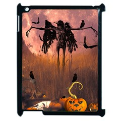 Halloween Design With Scarecrow, Crow And Pumpkin Apple Ipad 2 Case (black) by FantasyWorld7