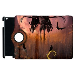 Halloween Design With Scarecrow, Crow And Pumpkin Apple Ipad 2 Flip 360 Case by FantasyWorld7