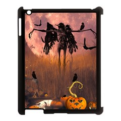 Halloween Design With Scarecrow, Crow And Pumpkin Apple Ipad 3/4 Case (black) by FantasyWorld7