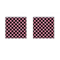 Circles2 Black Marble & Pink Watercolor Cufflinks (square) by trendistuff