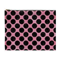 Circles2 Black Marble & Pink Watercolor Cosmetic Bag (xl) by trendistuff
